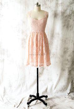 Knee Length Keyhole Back Blush Lace Bridesmaid Dress
