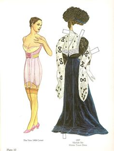 Great Fashion Designs of La Belle Époque Paper Dolls by Tom Tierney - Dover Publications, Inc.,1982: Plate 10 (of 16)