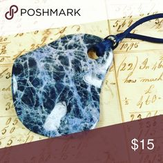 ☮️final price☮️ Blue sodalite pendant necklace Blue sodalite stone On satin cord From a pet and smoke free location Jewelry Necklaces