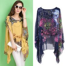 Summer Women Sexy Batwing Sleeve Loose Chiffon Floral Print Blouse Tops(China (Mainland))
