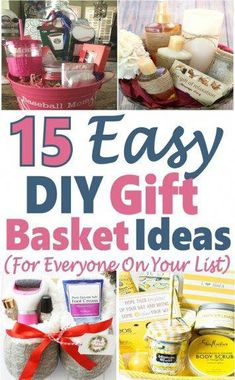 Gift Basket Ideas for Any & All Occasions ~ DIY Gift Basket Ideas – Abiball Abschlussfeier Baby Shower Erntedankfest (Thanksgiving) Geburtstag Geschenk korb Cheap Gift Baskets, Creative Gift Baskets, Wine Gift Baskets, Homemade Gift Baskets, Gift Baskets For Women, Themed Gift Baskets, Diy Gifts For Mom, Diy Holiday Gifts, Easy Diy Gifts