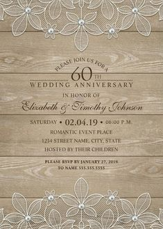 Vintage Burlap /& Lace Personalised Anniversary Party Invitations