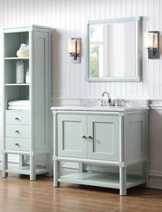 """Add a subtle pop of color to your bathroom with a beautifully designed vanity and accessories. The Martha Stewart Living Bath Vanity Collection is available at @homedepot. Pictured Here: Sutton 36"""" Bath Vanity in Rainwater"""