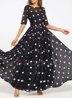 2e1da43c5739a Dress -  62.68 - Chiffon Polka Dot Half Sleeve Maxi A-line Dress  (01955241457