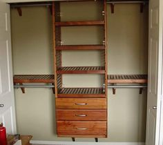 shelves on top of rods.  Men's Closet Ideas | John Louis Reach-in Installations - Canada