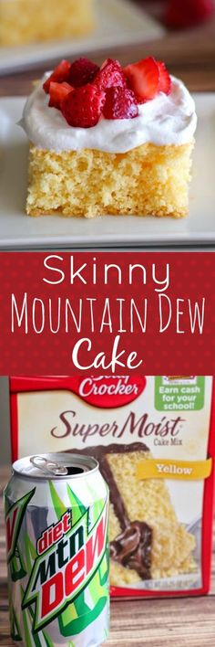 Skinny Mountain Dew Cake with Whipped Topping and Strawberries