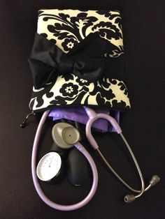 fabric medical case W/ BOW, stethoscope and BP cuff - in black and champagne damask (medical pouch, pockets for penlight and tools) via Etsy