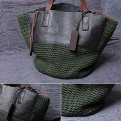 Crochet Handbags Love combination of leather and textured crochet on this shoulder bag Crochet Handbags, Crochet Purses, Crochet Bags, Leather Fabric, Leather Bag, My Bags, Purses And Bags, Diy Accessoires, Crochet Shell Stitch