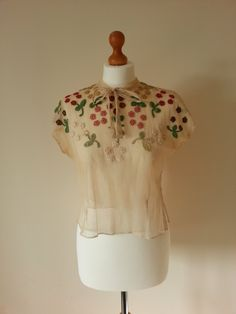 Beautiful 1930s silk tulle top with crochet detail.