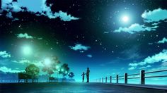 perfect pictures anime - blue starry sky - beautiful night