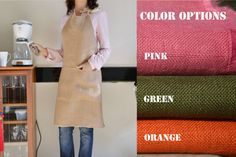 Burlap full kitchen apron for women in beige pink by AmoreBeaute