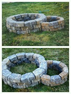 Our new campfire pit! It even has a small pit to the right for dutch oven cooking. Built it for under $100