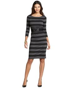d30d1cfebde BCBGMAXAZRIA black and grey striped stretch  Roslyn  long sleeve belted  dress