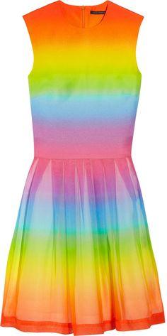 Christopher Kane Rainbow-print cotton and silk-blend dress on shopstyle.co.uk