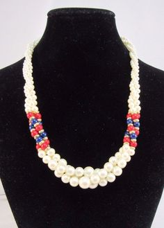 """Vintage Faux Pearl Necklace Red White Blue Patriotic Twisted Gold Tone Accent 9"""" #Unbranded #Collar"""