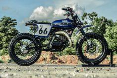 Yamaha Scrambler by Ranger Korat Tracker Motorcycle, Moto Bike, Cafe Racer Motorcycle, Motorcycle Outfit, Motorcycle Helmets, Cafe Racer Helmet, Cafe Racer Girl, Cafe Racer Bikes, Cafe Racers