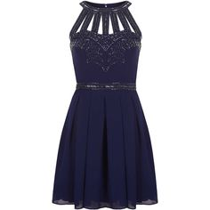 **Cage Embellished Dress by TFNC ($78) ❤ liked on Polyvore featuring dresses, vestidos, short dresses, navy blue, embellished dress, cut out dress, blue cut out dress and high neck dress