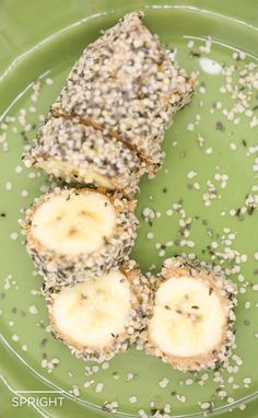 """On-the-Go Paleo: Banana """"Sushi"""" - Take a banana, add any type of nut butter, roll in chia seeds, hemp seeds, or ground nuts and volia! Instant snacking"""
