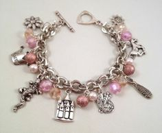 Disney Tangled Inspired Charm Bracelet Pink Beaded | eBay