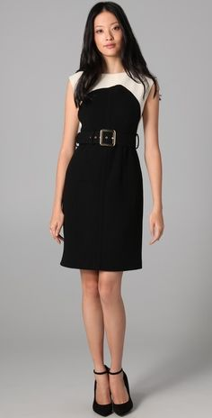 Milly Darla Belted Combo Dress thestylecure.com