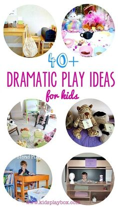 Big collection of dramatic play ideas for kids. Ideas that help with reading, writing, vocabulary, overcoming fears etc..