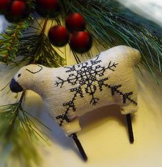 Blackwork Nordic Sheep Christmas Cross stitch Ornament