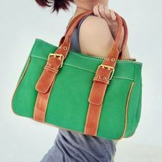 Retro Women's Tote Bag With Candy Color and Buckle Design $27