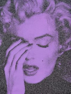 Russell Young Marilyn Crying, Enamel silkscreen on linen with diamond dust. 20 × 26 in. × 66 cm) Signed on verso. Marilyn Monroe Painting, Young Marilyn Monroe, Salzburg, Russell Young, Ideal Beauty, Purple Reign, Portraits, All Things Purple, Conceptual Art