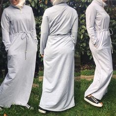 "7 Likes, 1 Comments - Allure.Abayas (@allure_abayas) on Instagram: ""Very comfy abaya dress in grey has a high neck with a zip, hidden waist belt to fit your waist…"""