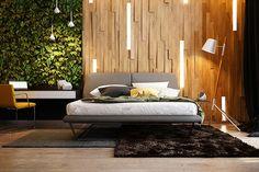 Parete in legno per la camera da letto 05