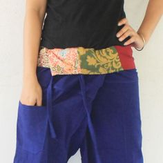 patchwork inside fold over with blue  full length  Thai fisherman pants hand weave cotton,size S-XL,unisex pants,yoga,spa pants. by meatballtheory on Etsy