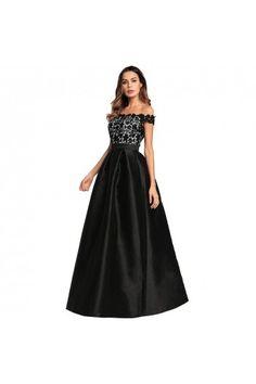 80a301922eb3d Off Shoulder Black Lace Satin Long Bridesmaid Evening Dress