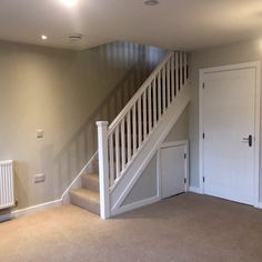 Visible components have been painted white on site by our customer on this quarter landing softwood staircase. Staircases, Landing, Pine, Hardwood, Stairs, House, Home Decor, Wood Stair Railings, Painted Wood
