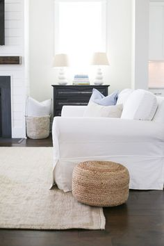 I love the simplicity of skip covered couches and natural fiber rugs. Decor, Room, Room Design, Family Room Design, House Styles, Home Decor, House Interior, Coastal Living Rooms, Interior Design