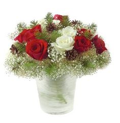 Simple Christmas flower arrangement with red and white roses