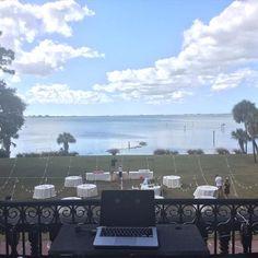 Powel Crosly Estate, Sarasota, FL. South Florida wedding DJ. Edison lights, DJ in the balcony. Outdoor wedding. Traveling wedding DJ. Click link to see more of my work: http://www.djdayve.com/