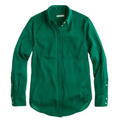 Petite silk pocket blouse jcrew hanging in my closet now