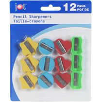 Jot Fun Shapes Pencil Sharpeners 12 count packs, SKU#26571, Ages 5-9 and Ages 10-14, Dollar Tree