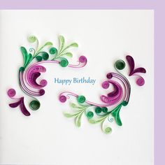 Birthday Swirls x Paper Quilling Cards, Paper Quilling Designs, Quilling Paper Craft, Paper Crafts, Quilling Ideas, Happy Birthday Wishes Cards, Handmade Birthday Cards, Quiling Paper Art, Quilled Creations