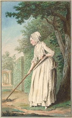 """The Duchess of Chaulnes as a Gardener in an Allée"" by Louis de Carmontelle (1771) ""In this poignant portrait, Louis Carmontelle depicted Marie d'Albert de Luynes taking up the vogue for gardening that Queen Marie Antoinette had popularized among noble women. Gently raking in a verdant allée or garden path, Marie probably posed during a social event at the Parisian court of the duc d'Orléans."""