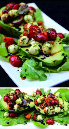 Caprese stuffed avocado - avocado, garlic, healthy, recipes, tomato
