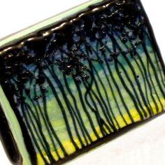 Forest Treescape bead, Aqua Moss