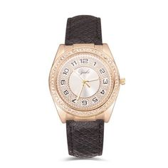 YAKI Elegante Damenuhren Uhren Uhr Damen Armbanduhr Quarz Modeuhr Lederarmband mit Strass Schwarz Z5268-B