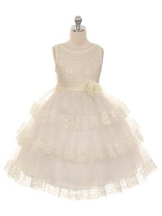 Ivory Lace and Tulle Layered Flower Girl Dress (Available in Sizes 2-12