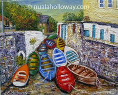 """Boats at Coliemore Harbour"" by Nuala Holloway - Oil on Canvas Irish Art, Seaside, Oil On Canvas, Boats, Beach, Painted Canvas, Ships, Oil Paintings, Boat"