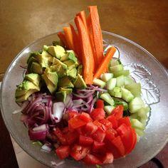 raw Carrot • avocado • tomato • cucumber • purple Onion • lettuce Salad || Costa Rica || @coloreats #COLOReats