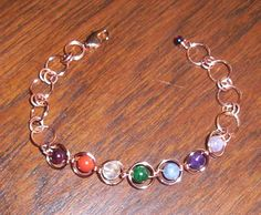 Chakra Bracelets - using the energy of a variety of natural stones to represent the 7 energy centers Root - red / black Sacral - orange Naval - yellow Heart - green/ pink Throat - blue Forehead - Indigo Crown - purple/ crystal This bracelet uses Garnet, Carnelian, Citrine, Malachite, Angelite, Amethyst and Fluorite #chakra #CopperChakraBracelet