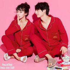 Ulzzang Fashion, Korean Fashion, Ulzzang Style, Red Pajamas, Pyjamas, Couple Outfits, Couple Clothes, Cute Pjs, Kawaii Room