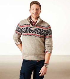 AE Fair Isle Mock Neck Sweater