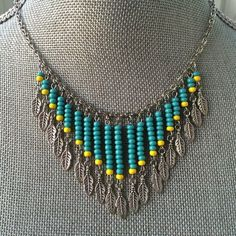 Bohemian Fringe Necklace Turquoise and Yellow Seed Beads with Antiqued Silver Fe. - Bohemian Fringe Necklace Turquoise and Yellow Seed Beads with Antiqued Silver Feather Charms Boho / - Seed Bead Jewelry, Seed Bead Crafts, Beaded Jewelry, Handmade Jewelry, Seed Beads, Fringe Necklace, Boho Necklace, Beaded Earrings, Boho Gypsy